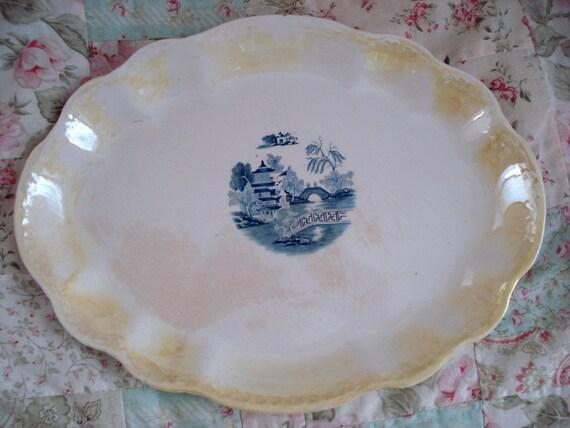 Vintage Homer Laughlin Platter Yellow Blue Willow Center Unique