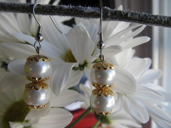 Gold Capped Glass Pearl Handmade Earrings