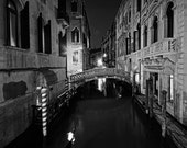 Venice Canal in Black and White, Venice, Italy, 8x10 Fine Art Photography, Venetian Decor