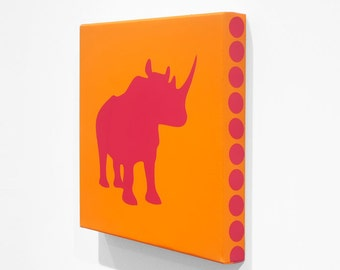 "Organic Rhino Print - Orange / Hot Pink - 22"" x 22"""
