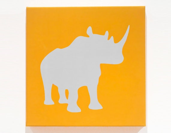 "Organic Rhino Print - Sunshine / Light Gray - 12"" x 12"""
