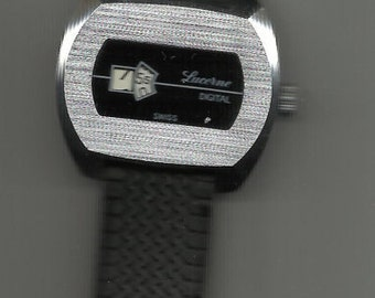 Lucerne Silver Face Digital Swiss Jump Hour Wind-up Watch
