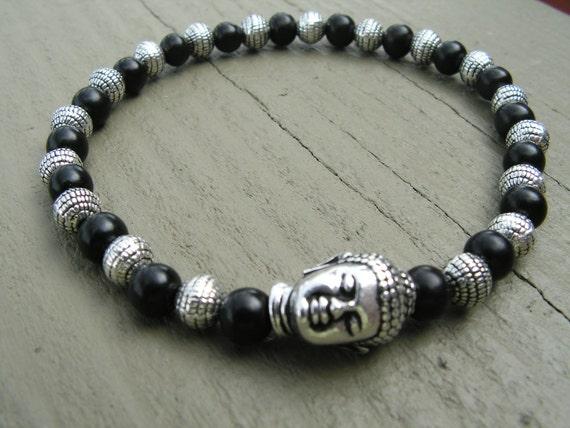 Buddha Bracelet, Jewelry, Mens Bracelet, Ebony, Tibetan Silver, stretch bracelet