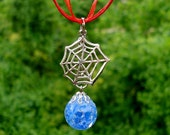 Spiderman Web Blue Fried Marble Charm Red Necklace
