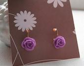 Pair Purple Resin Flower / Rose  Resin Dangle Gold Earrings