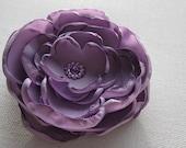 Purple Lilac Rose Flower Satin Hair clip with  Rhinestones / Wedding / Photography Op / Girl / Woman
