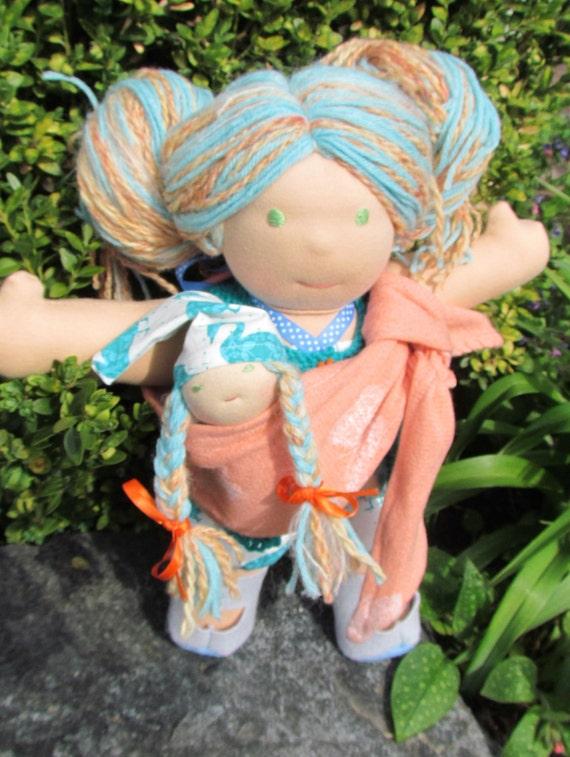 "SALE - Babywearing Waldorf Doll, 15"" handmade wool doll, children- eco-friendly"