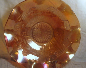 Vintage Fluted Iridescent Marigold Iris Design Carnival Glass Bowl Big Collectible