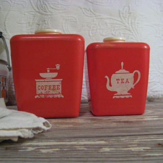 Vintage 1950's Red Coffee & Tea Canister Set Plastic