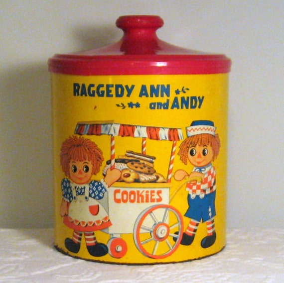 1973 Limited Edition Raggedy Ann and Andy Tin Cookie Jar by Cheinco / Bobbs-Merill Co.