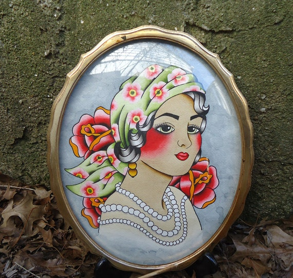 Traditional American Tattoo Style Original Gypsy Water Color Painting
