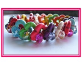 Infinity Multi-color Four Leaf Clover Beaded Bracelet Elastic with Pink, Blue, Green, White, Orange