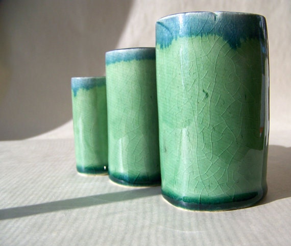 Three Blue Green Vases