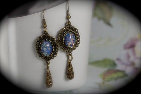Antiqued Bronze Vintage Blue Pink Opal Dragon Breath Stone Earrings- (E2)