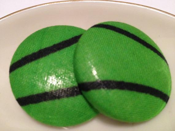 Oversize Button Earring- Green W/Envy
