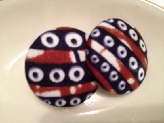 Button Earring- Authentic African Wax Print