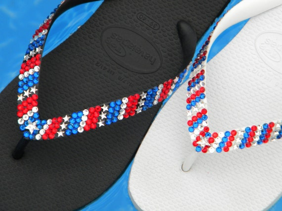 Crystal Flip Flops Stars & Stripes Memorial Day USA Red White Blue July 4th Independence Havaianas or Cariris Wedge Heel Shoes