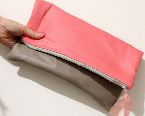 Fold over clutch, oversized clutch, coral and latte leatherette.