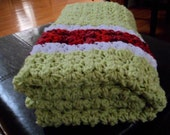 """Crochet Baby Blanket, Handmade, green white and red colour, Size 32""""x28"""""""
