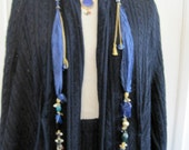 Navy Blue Necklace Scarf Pendant Lariat Fine Silk Swarovski Crystals