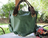 A Stylish Handbag in a Beautiful Green with Brown Accent