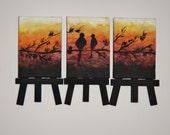 SALE... Three Miniature Canvas Paintings of Black Birds and Branches. This weekend only 40 percent off Use coupon weekend40off
