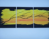 SALE... Original Three Canvas Paintings of Black Tree and Branches 33x14. This weekend only 40 percent off Use coupon weekend40off