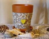 Mosaic Sea Side Yellow Heart Terra Cotta Planter