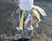 Fabric Scrap Tutu Yellow and Grey