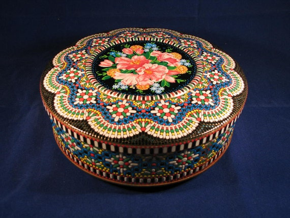Vintage Daher Round Tin with Vibrant Colors and Floral Design in Middle  1970's