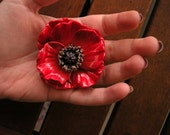 Poppy flower brooch from polymer clay vintage
