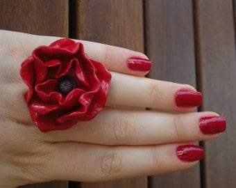 Poppy flower ring from polymer clay vintage red