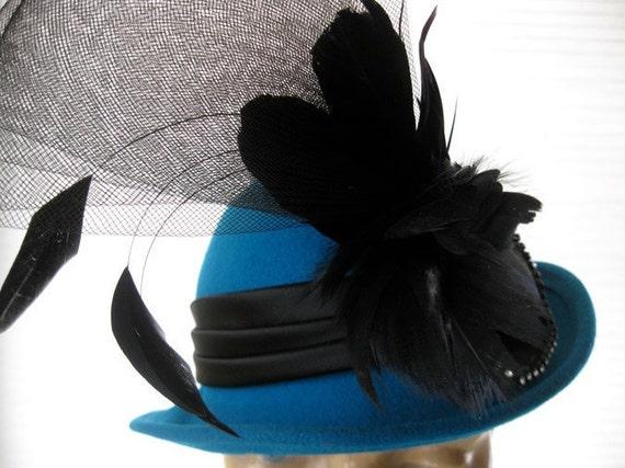 vintage. HAT. dark turquoise. NOS. wool. BOLLMAN. feathers. 1940s. felt.