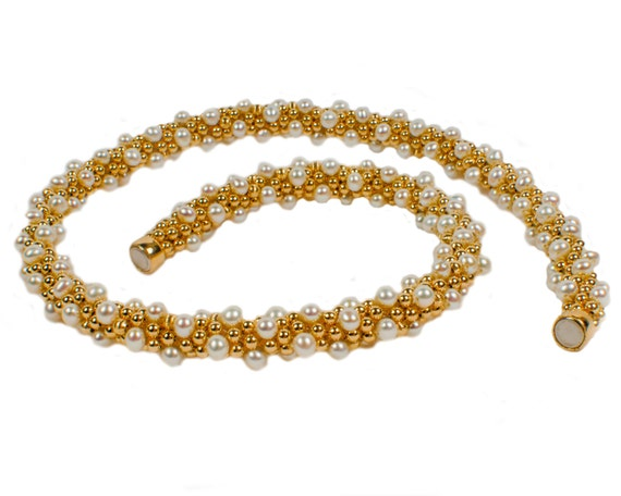 14K GF Bead Crochet Necklace With Freshwater Pearls, Jewelry, Handcrafted