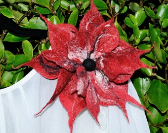 Beautiful,Red Hand Felted Flower Brooch