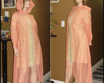 A PEACH of a DUSTER /  Peach Pink / Duster Jacket / Lace / Maxi Length / Hooded / Ready for Spring