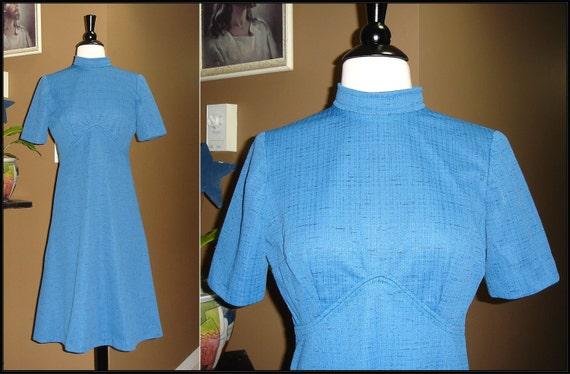 MOD FOR LIFE / 1960s True Blue / Empire Waist / A line Shift Dress / ModCloth style / Small / Medium