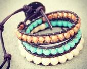 Rustic Blue Beaded Leather Wrap Bracelet 3x - free shipping plus 10% off w/ code NEWSHOP