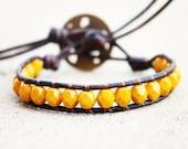 MUSTARD Yellow Beaded Leather Wrap Bracelet 1x - free shipping plus 10% off w/ code NEWSHOP