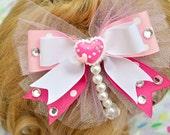 Valentines Day Lolita Kawaii Heart Pearl White and Pink Handmade Hair bow