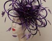 Large Cadbury Purple Rhinestone Diamante Feather Fascinator Hat - wedding, ladies day - choose any colour feathers & satin