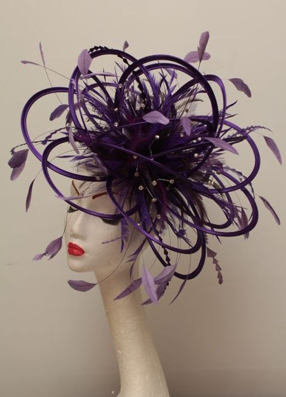 Large Cadbury Purple Rhinestone Diamante Feather Fascinator Hat - wedding, ladies day - choose any colour feathers & satin
