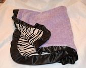 Minky Blanket Baby Zebra  and Minky Dot Blanket Custom Blanket