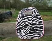 Minky Bib Baby Bib Pink Dot Minky With Black And White Zebra Print