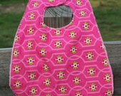 Pink Minky Dot Bib  Baby Bib With Pink and Green Floral Print