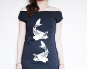 Lovely Swimming Japanese Koi Fishes Womens American Apparel Black Fine Jersey T Dress avaliablie in size S, M, L