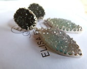Druzy Agate black and blue Earrings-RESERVED