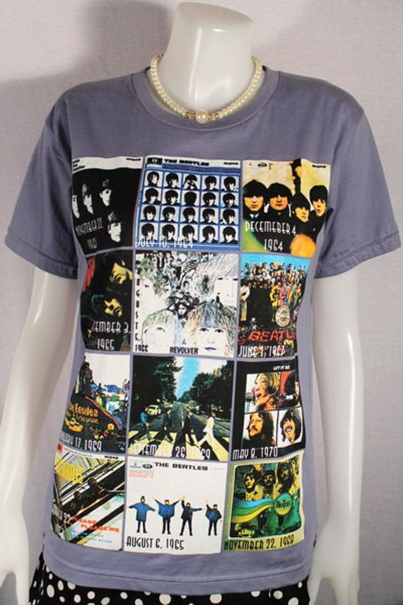 The Beatles In A High Quality Detailed Silkscreen On Gray Tshirt For Women.