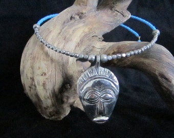 Sterling African Mask Choker