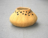 Felted studded vessel bowl pot decoration in yellow